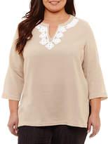 Liz Claiborne 3/4 Sleeve Split Neck Tunic- Plus