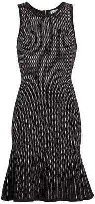 Milly Tweed Flounce Hem Sheath Dress