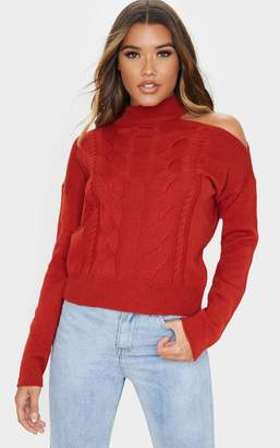 PrettyLittleThing Rust Cable Knit Choker Jumper