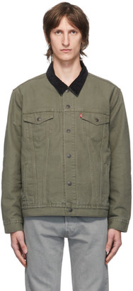 Levi's Levis Green Canvas Lined Trucker Jacket