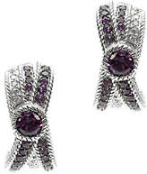 Judith Ripka Sterling Amethyst & Diamonique J-H oop Earrings