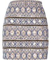 River Island Womens Blue embellished mini skirt