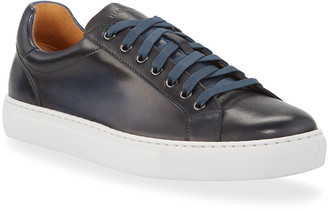 Magnanni Men's Low-Top Leather Napa Sneakers