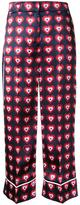 Fendi heart print pyjama trousers - women - Silk - 40