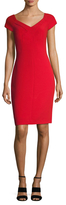Badgley Mischka Crepe Pleated Sheath Dress