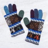 Artisan Crafted 100% Alpaca Colorful Gloves from Peru, 'Andean Tradition in Blue'