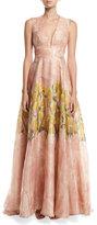 Lela Rose Floral Glossed Organza Deep V-Neck Gown, Blush/Multicolor