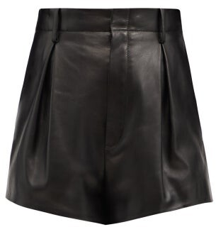 Saint Laurent High-rise Pleated Leather Shorts - Black