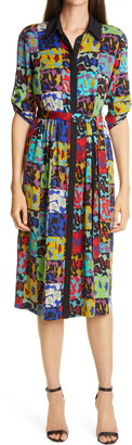 Diane von Furstenberg Sogol Print Patchwork Shirtdress
