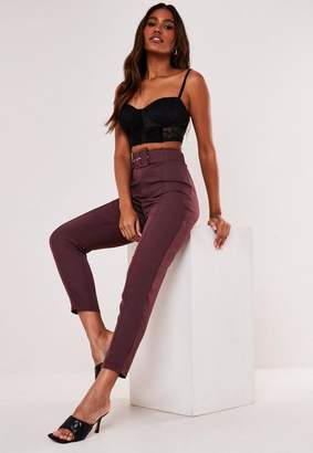 Missguided Tall Purple Co Ord Belt Seam Detail Cigarette Pants