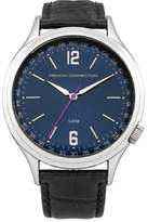 French Connection Men's Quartz Watch with Blue Dial Analogue Display and Black Leather Strap FC1195UBA