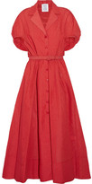 Rosie Assoulin Have The Wind At Your Back Seersucker Midi Dress - Red