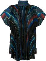 Sacai high neck striped top - women - Polyester - 2