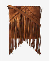Express faux suede fringe cross body bag
