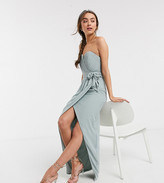 TFNC Petite Petite bridesmaid exclusive bandeau wrap midaxi dress with pleated detail in sage
