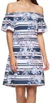 Jessica Simpson Blue Pink Floral Stripe Print 12 Off-Shoulder Dress