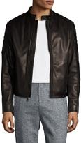 Elie Tahari Men's Burnished Leather Biker Cross Jacket