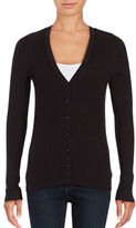 Lord & Taylor Petite Ribbed V-Neck Cardigan