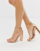 Glamorous rose gold barely there square toe block heeled sandals