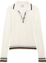 Frame Le Polo Open-knit Linen-blend Top - Ivory