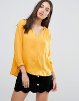 d.RA Lucienne Collarless Blouse