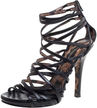 Dolce & Gabbana Black Leather Strappy Sandal Size 37