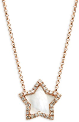 Effy 14K Rose Gold, Mother-Of-Pearl & White Diamond Star Pendant Necklace