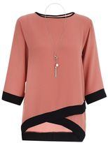 Quiz Terracotta and Black Contrast 3/4 Sleeve Necklace Top