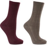 Falke Set Of Two Armour Textured Wool-blend Socks - Gray