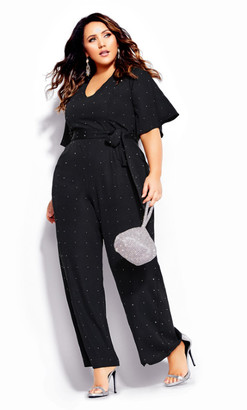 City Chic Studded Jumpsuit - black