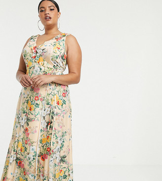 Asos DESIGN Curve ruffle wrap maxi dress with tie detail in floral print