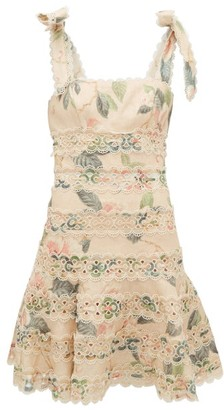 Zimmermann Kirra Broderie Anglaise Floral-print Linen Dress - Womens - Yellow Print