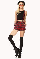Forever 21 Street-Chic Plaid Overall Shorts