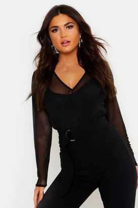 boohoo Mesh 2 In 1 Strappy Bodysuit