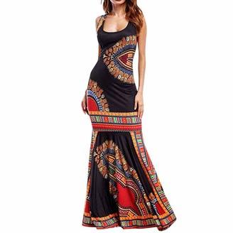 Afdiscounts Women Boho Floral Sleeveless Dashiki Maxi Long African Evening Cocktail Dress (XL