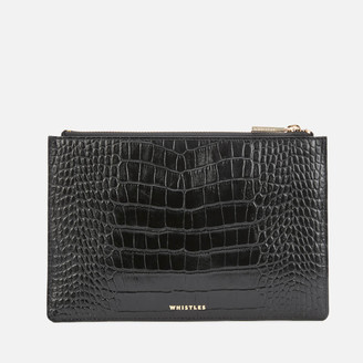 Whistles Women's Shiny Croc Small Clutch Bag