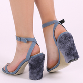 Public Desire Jayde Barely There Faux Fur Block Heels in Denim