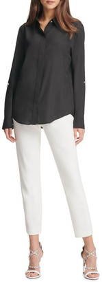 DKNY Foundation - Roll Tab Button With Hidden Placket Top