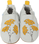 Robeez Gray Marigold Embroidered Leather Bootie
