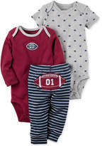 Carter's 3-Pc. Cotton Football Bodysuits and Pants Set, Baby Boys (0-24 months)