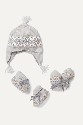 Johnstons of Elgin Kids - Infant Fair Isle Cashmere Booties, Hat And Mittens Set - Gray