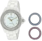 Peugeot Women's PS4910WT Ceramic Bracelet Watch with Three Interchangeable Swarovski Crystal Bezels
