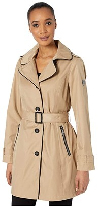 Vince Camuto SB Hooded Belted Trench V10736-ZA (Navy) Women's Clothing