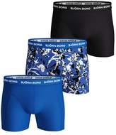 Mens Bjorn Borg Blue/Black/Floral Print Trunks Three Pack - Blue