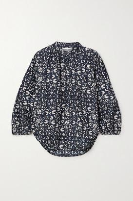 Apiece Apart Bravo Floral-print Silk Blouse - Navy