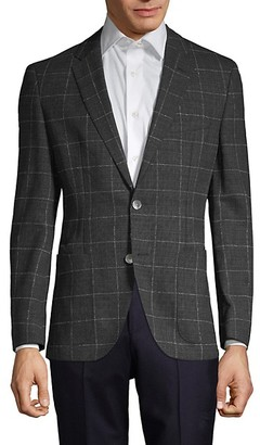 HUGO BOSS Janson Regular-Fit Windowpane Virgin-Wool Jacket
