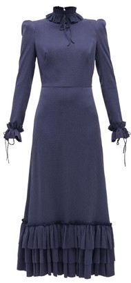 The Vampire's Wife The Cinderella Hammered Stretch-silk Dress - Navy