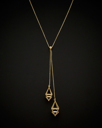 Italian Gold 14K 3D Diamond Cage Drop Adjustable Lariat Necklace