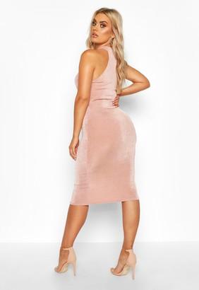 boohoo Plus High Neck Textured Slinky Midi Dress