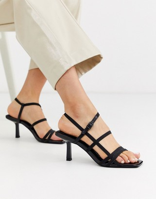 Asos Design DESIGN Heartbreak strappy heeled sandals in black